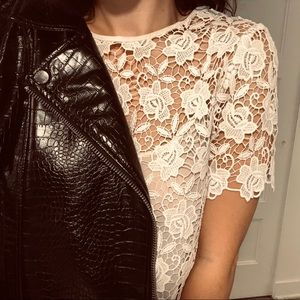 ZARA | Lace Short Sleeve Shirt